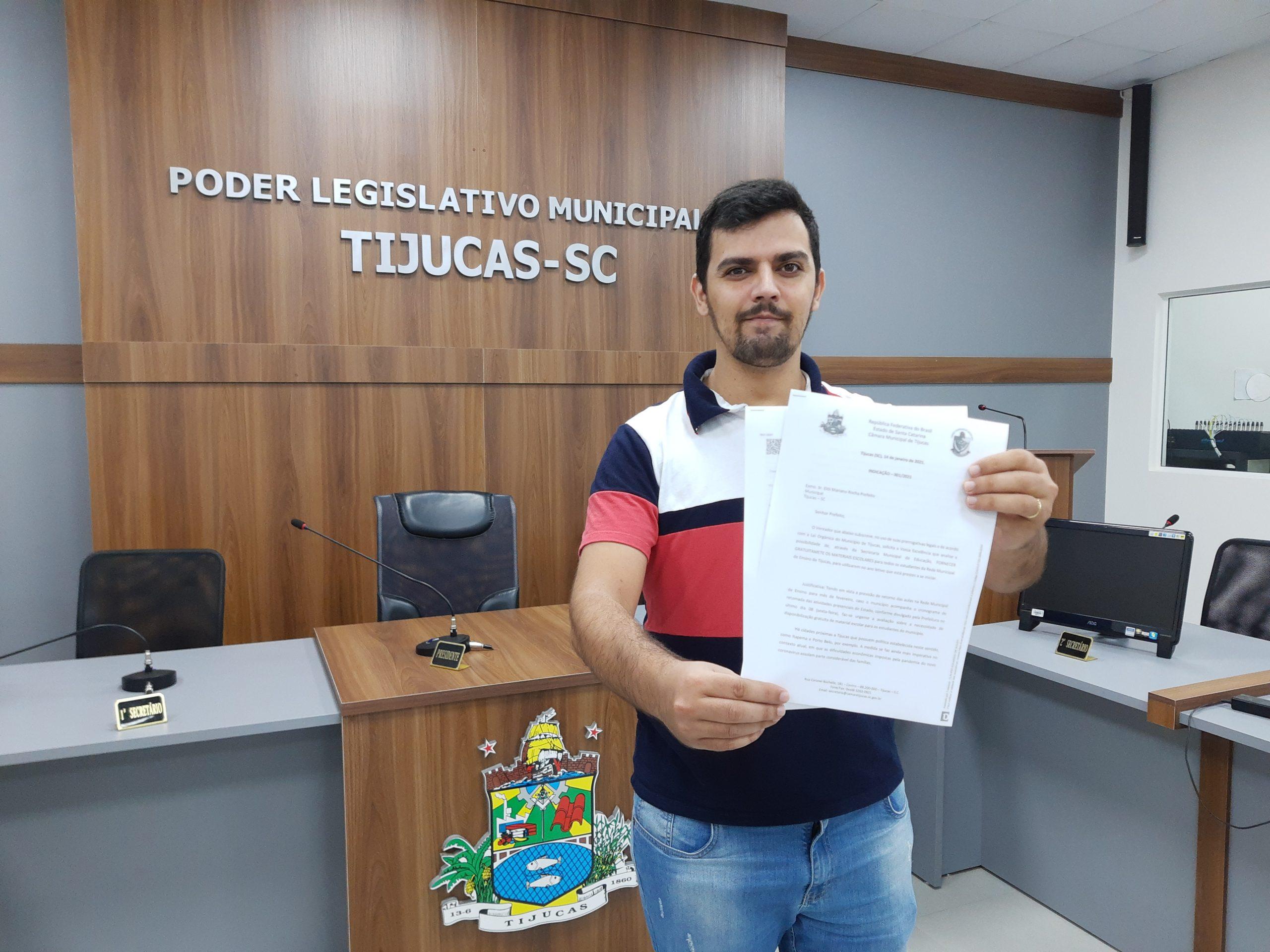Vereador pede material escolar gratuito para estudantes de Tijucas