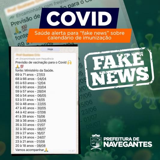 """Saúde alerta para """"fake news"""" sobre calendário de imunização contra a Covid-19"""
