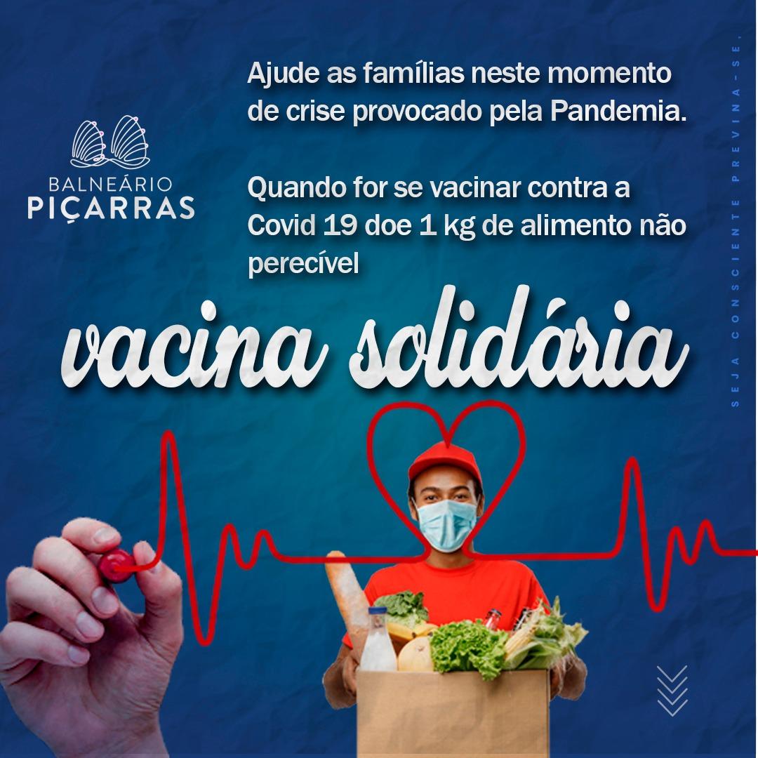 Prefeitura de Balneário Piçarras lança Campanha Vacina Solidária