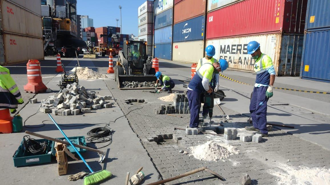 Segurança Portuária: Porto de Itajaí realiza manutenção do pavimento da área primária