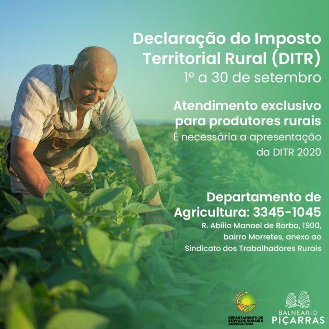 Período de Declaração de Imposto Territorial Rural em Balneário Piçarras abre em 1º de setembro