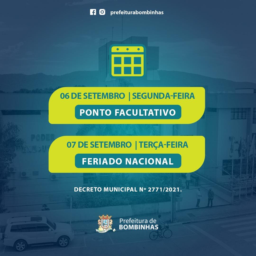 Prefeitura de Bombinhas decreta ponto Facultativo na Segunda-feira, 06