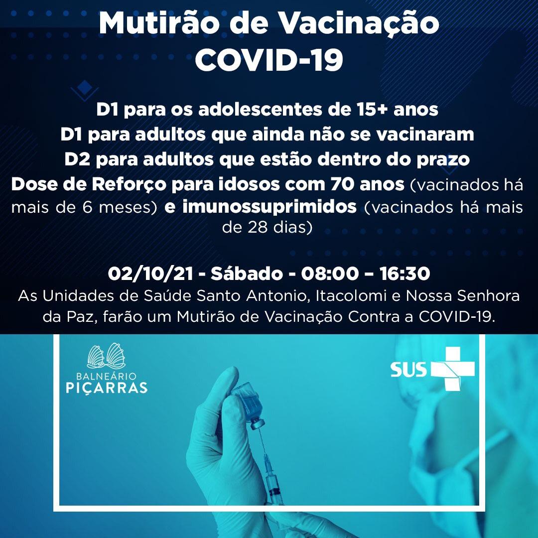 Balneário Piçarras promoverá mutirão de vacinação contra Covid-19 neste sábado (2)